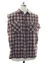 Mens Grunge Cut Off Sleeveless Joe Dirt Style Flannel Shirt