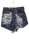 Womens Thrashed Bleach Acid Washed Cut-off Denim Jeans Short Shorts