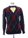 Mens Totally 80s Preppy Argyle Sweater