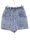 Womens Totally 80s Style Acid Washed Denim Jeans Shorts