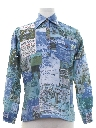 Mens Hawaiian Photo Print Resort Wear Disco Shirt