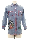 Mens Embroidered and Painted Chambray Hippie Shirt