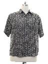Mens Silk Graphic Print Silk Sport Shirt
