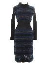 Womens Mod Wiggle Wool Knit Dress