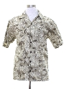 Mens Hawaiian Style Tapa Print Sport Shirt