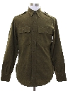 Mens Wool Gabardine Military Style Work Shirt