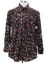 Mens Print Disco Style Western Shirt