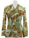 Womens Print Disco Style Pullover Hippie Shirt