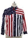 Mens Totally 80s Patriotic Western Shirt