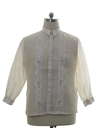 Mens Sheer Embroidered Hippie Shirt