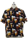 Mens Beer Themed Graphic Print Sport Shirt