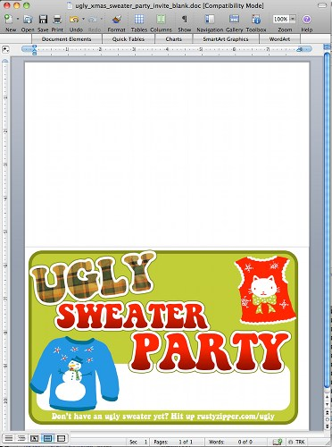Printable Ugly Christmas Sweater Party Invitations
